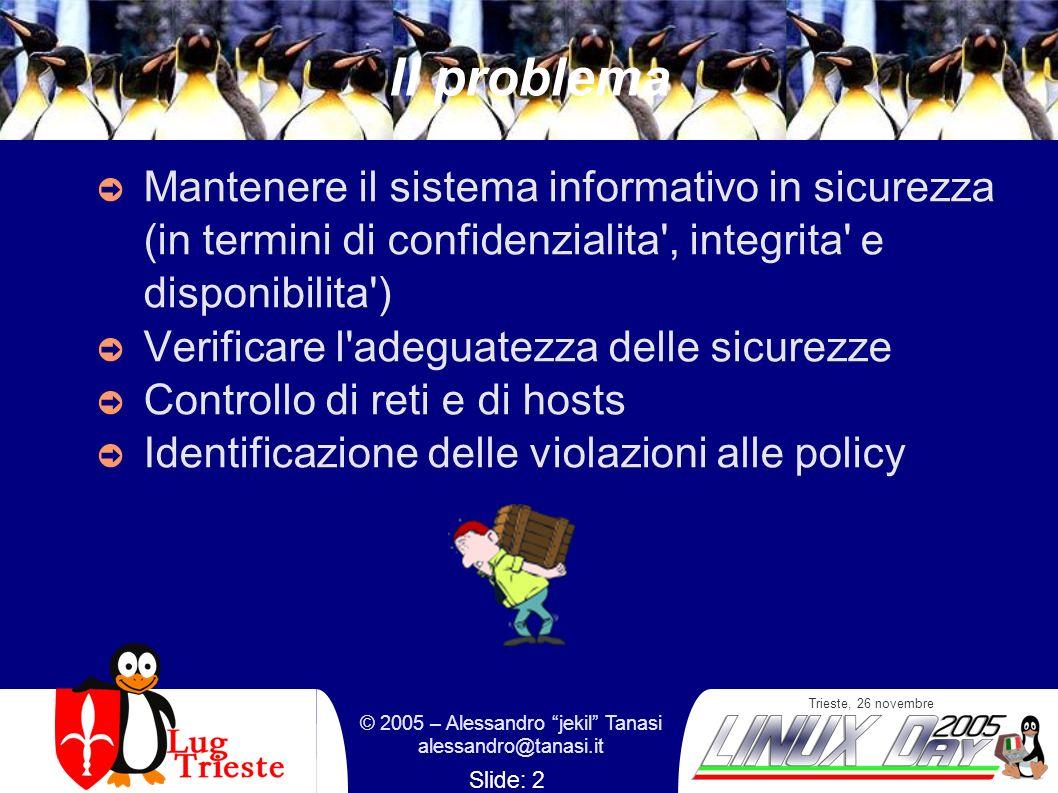 Trieste, 26 novembre © 2005 – Alessandro jekil Tanasi alessandro@tanasi.it Slide: 2 Il problema Mantenere il sistema informativo in sicurezza (in termini di confidenzialita , integrita e disponibilita ) Verificare l adeguatezza delle sicurezze Controllo di reti e di hosts Identificazione delle violazioni alle policy
