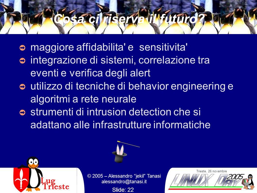 Trieste, 26 novembre © 2005 – Alessandro jekil Tanasi alessandro@tanasi.it Slide: 22 Cosa ci riserva il futuro? maggiore affidabilita' e sensitivita'