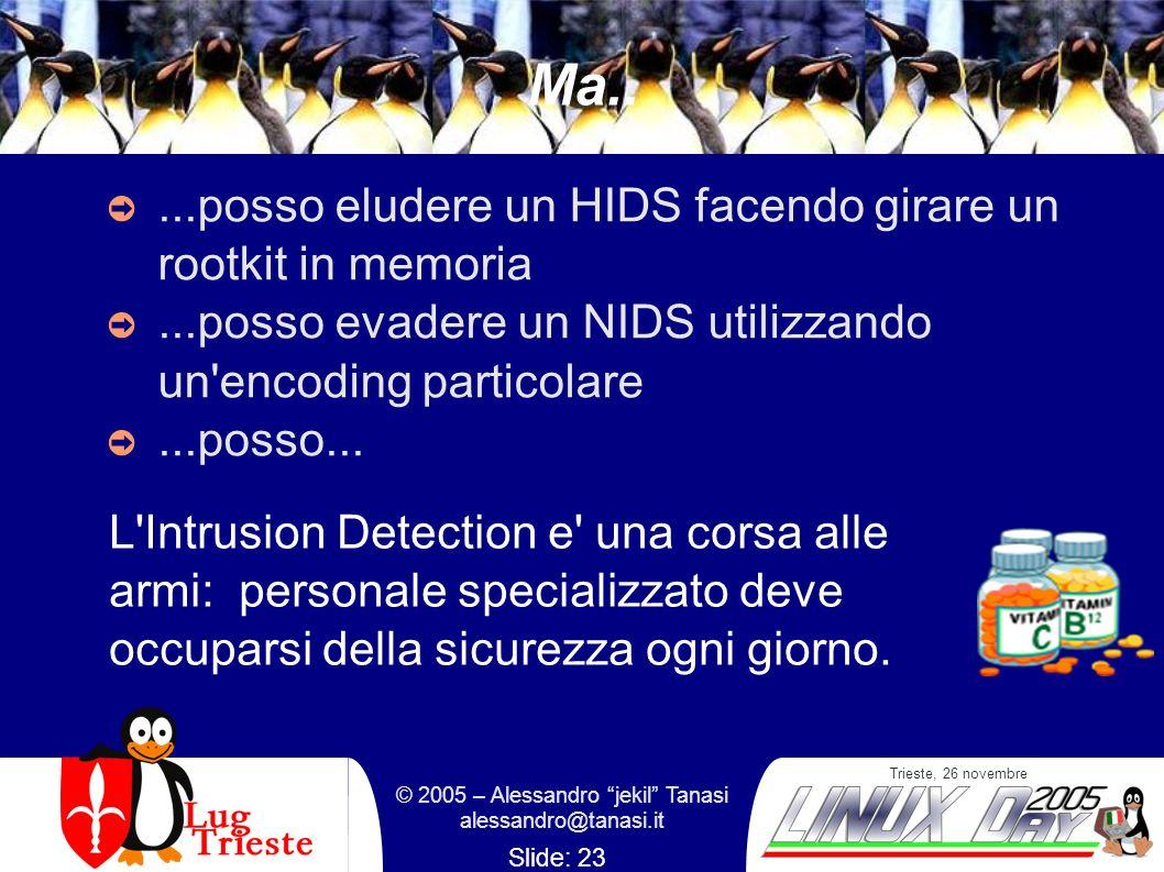 Trieste, 26 novembre © 2005 – Alessandro jekil Tanasi alessandro@tanasi.it Slide: 23 Ma.....posso eludere un HIDS facendo girare un rootkit in memoria...posso evadere un NIDS utilizzando un encoding particolare...posso...