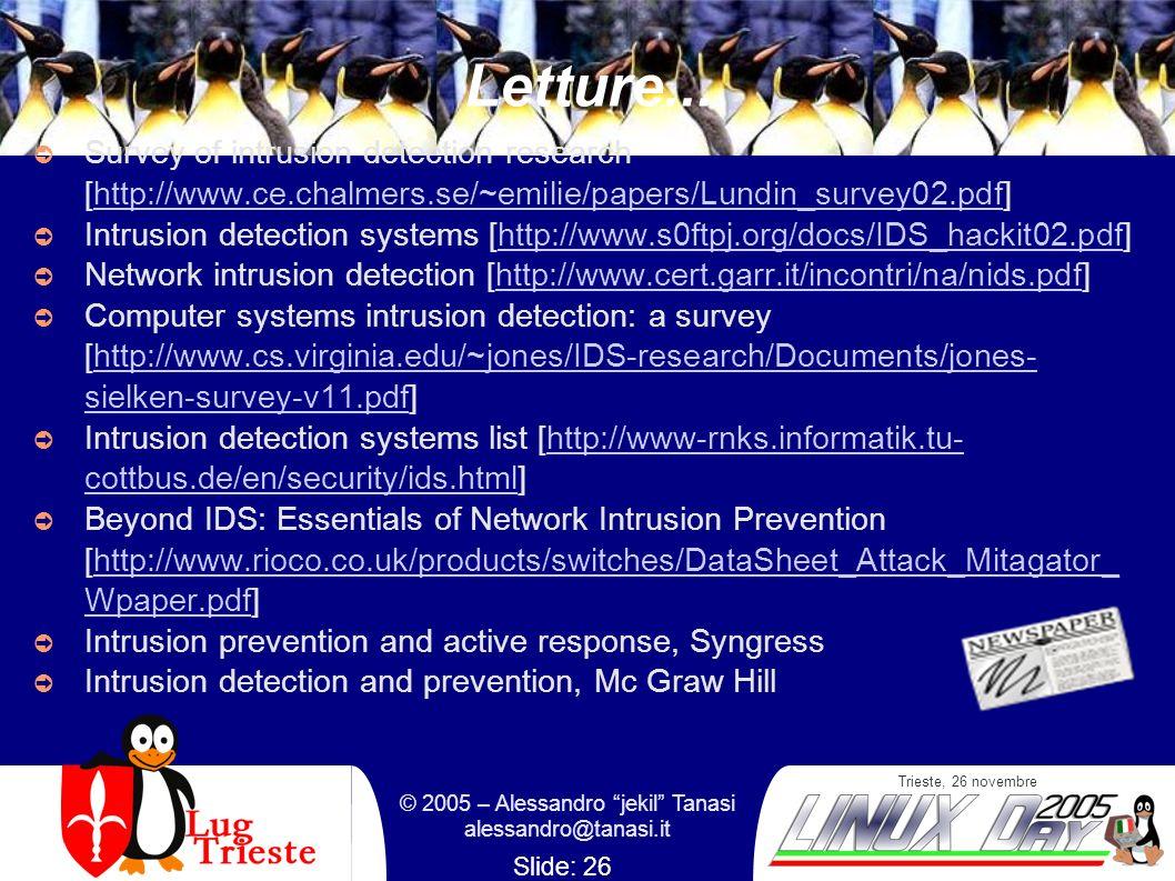 Trieste, 26 novembre © 2005 – Alessandro jekil Tanasi alessandro@tanasi.it Slide: 26 Letture... Survey of intrusion detection research [http://www.ce.