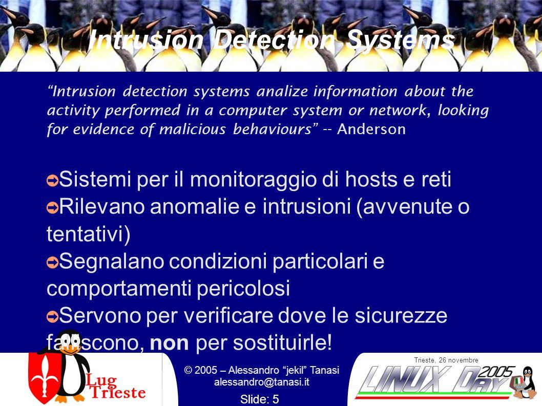 Trieste, 26 novembre © 2005 – Alessandro jekil Tanasi alessandro@tanasi.it Slide: 5 Intrusion Detection Systems Intrusion detection systems analize in