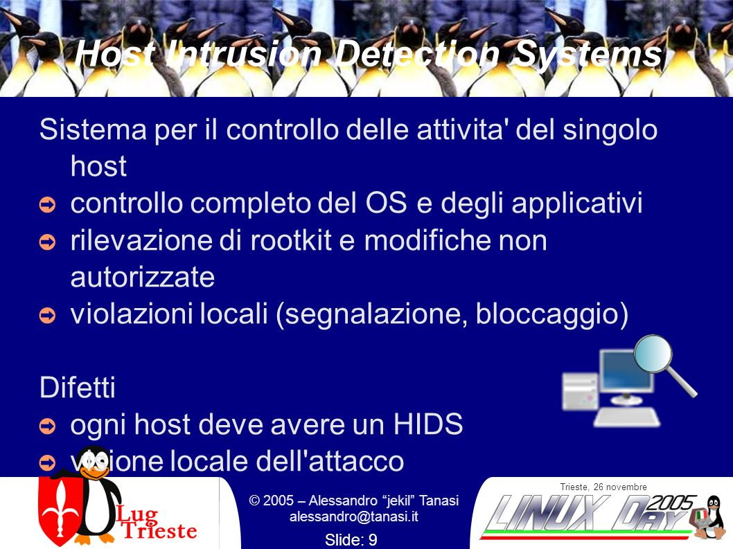 Trieste, 26 novembre © 2005 – Alessandro jekil Tanasi alessandro@tanasi.it Slide: 20 RNA : Prodotti Sourcefire [http://www.sourcefire.com/]http://www.sourcefire.com/ Tenable Lightning Console [http://www.tenablesecurity.com]http://www.tenablesecurity.com ISS Fusion [http://www.iss.net/]http://www.iss.net/ Cisco Threat Response [http://www.cisco.com]http://www.cisco.com