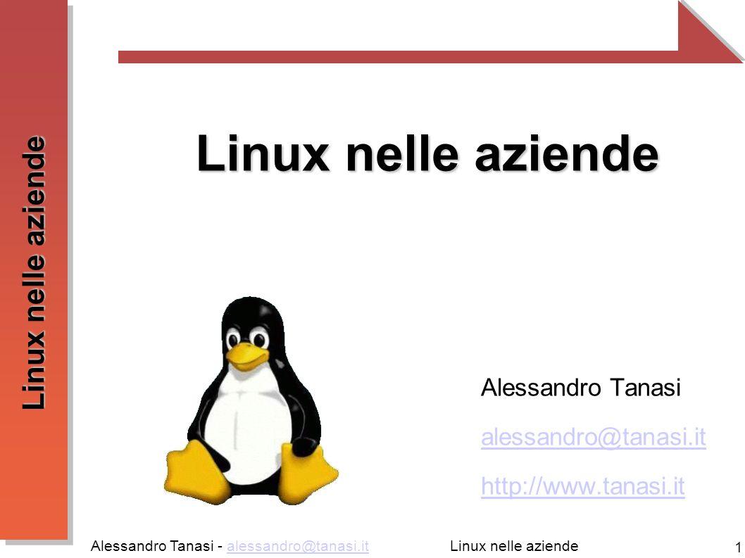 Alessandro Tanasi - alessandro@tanasi.italessandro@tanasi.it 1 Linux nelle aziende Alessandro Tanasi alessandro@tanasi.it http://www.tanasi.it Linux nelle aziende