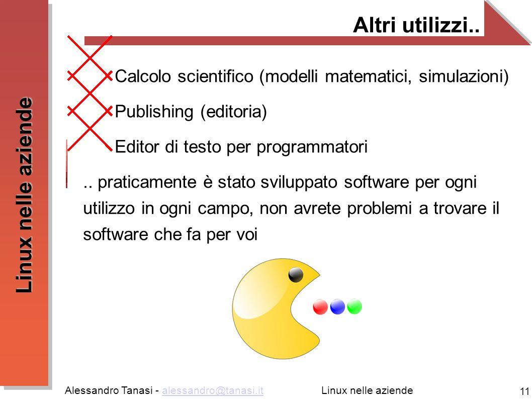 Alessandro Tanasi - alessandro@tanasi.italessandro@tanasi.it 11 Linux nelle aziende Altri utilizzi..