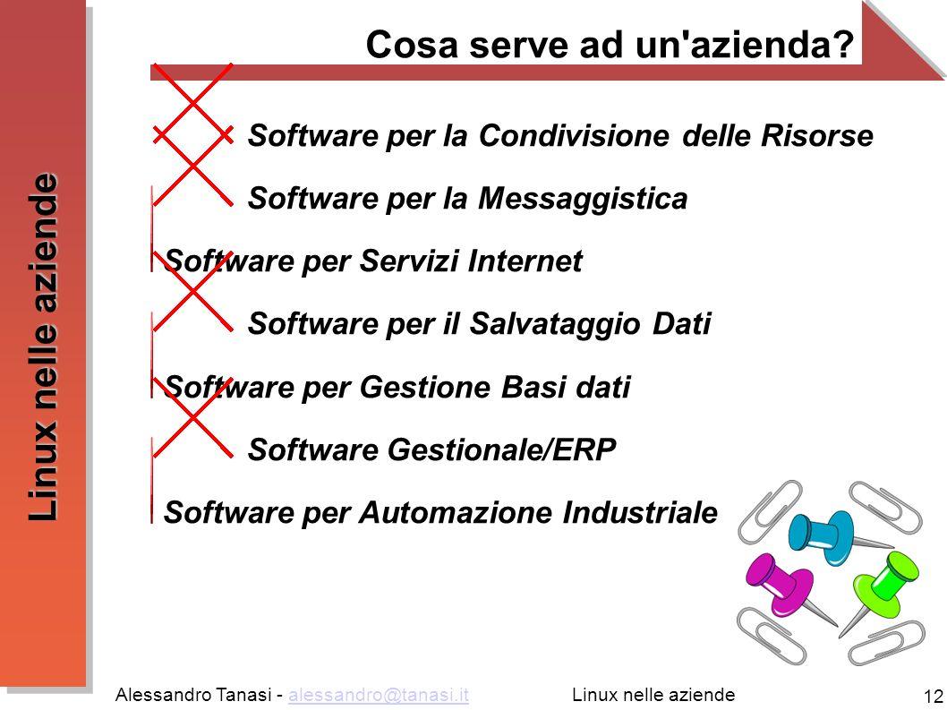 Alessandro Tanasi - alessandro@tanasi.italessandro@tanasi.it 12 Linux nelle aziende Cosa serve ad un azienda.