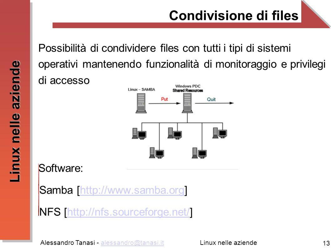 Alessandro Tanasi - alessandro@tanasi.italessandro@tanasi.it 13 Linux nelle aziende Condivisione di files Possibilità di condividere files con tutti i tipi di sistemi operativi mantenendo funzionalità di monitoraggio e privilegi di accesso Software: Samba [http://www.samba.org]http://www.samba.org NFS [http://nfs.sourceforge.net/]http://nfs.sourceforge.net/