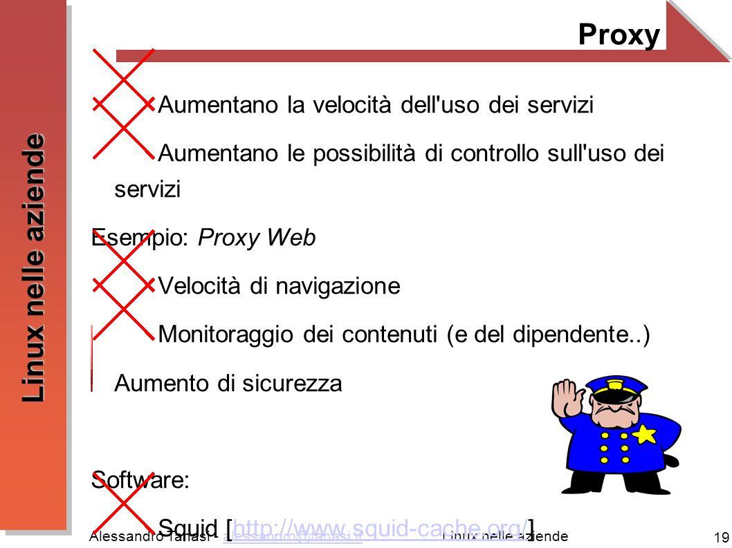 Alessandro Tanasi - alessandro@tanasi.italessandro@tanasi.it 19 Linux nelle aziende Proxy Aumentano la velocità dell uso dei servizi Aumentano le possibilità di controllo sull uso dei servizi Esempio: Proxy Web Velocità di navigazione Monitoraggio dei contenuti (e del dipendente..) Aumento di sicurezza Software: Squid [http://www.squid-cache.org/]http://www.squid-cache.org/