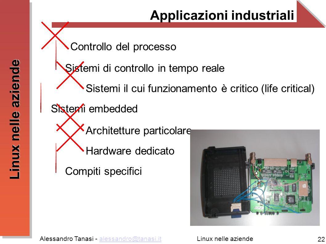 Alessandro Tanasi - alessandro@tanasi.italessandro@tanasi.it 22 Linux nelle aziende Applicazioni industriali Controllo del processo Sistemi di controllo in tempo reale Sistemi il cui funzionamento è critico (life critical) Sistemi embedded Architetture particolare Hardware dedicato Compiti specifici