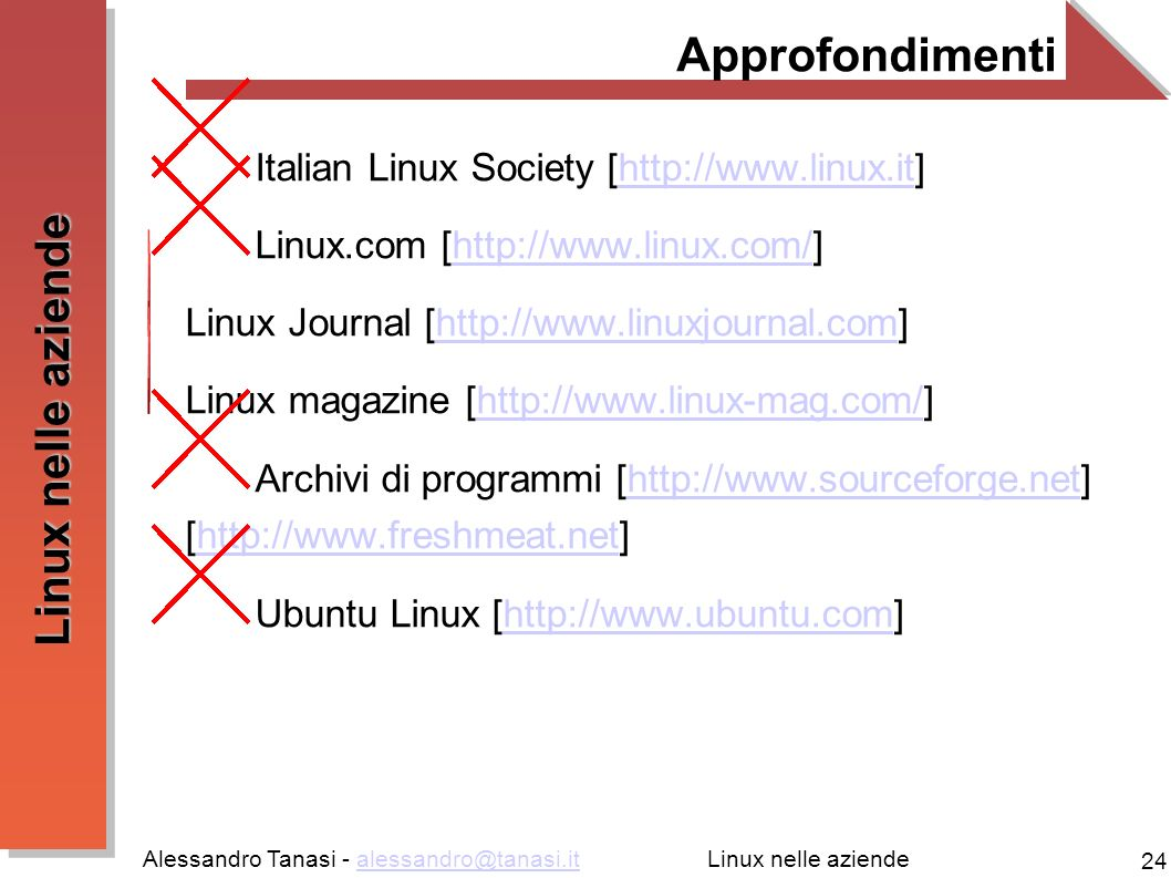 Alessandro Tanasi - alessandro@tanasi.italessandro@tanasi.it 24 Linux nelle aziende Approfondimenti Italian Linux Society [http://www.linux.it]http://