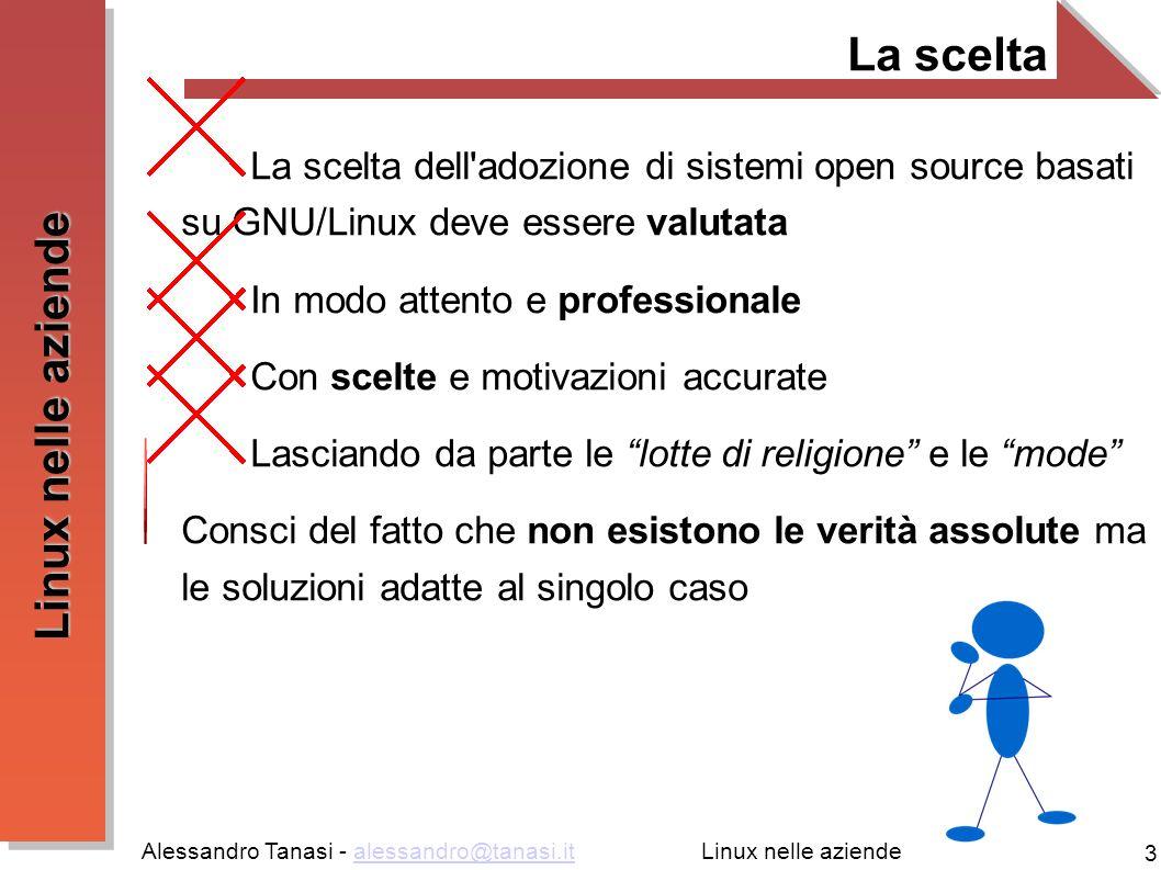 Alessandro Tanasi - alessandro@tanasi.italessandro@tanasi.it 14 Linux nelle aziende Condivisione di periferiche E possibile condividere periferiche quali ad esempio stampanti o scanner Gestione centralizzata Risparmio sull hardware Semplicità di utilizzo Software: CUPS [http://www.cups.org/]http://www.cups.org/ SANE [http://www.sane-project.org/]http://www.sane-project.org/