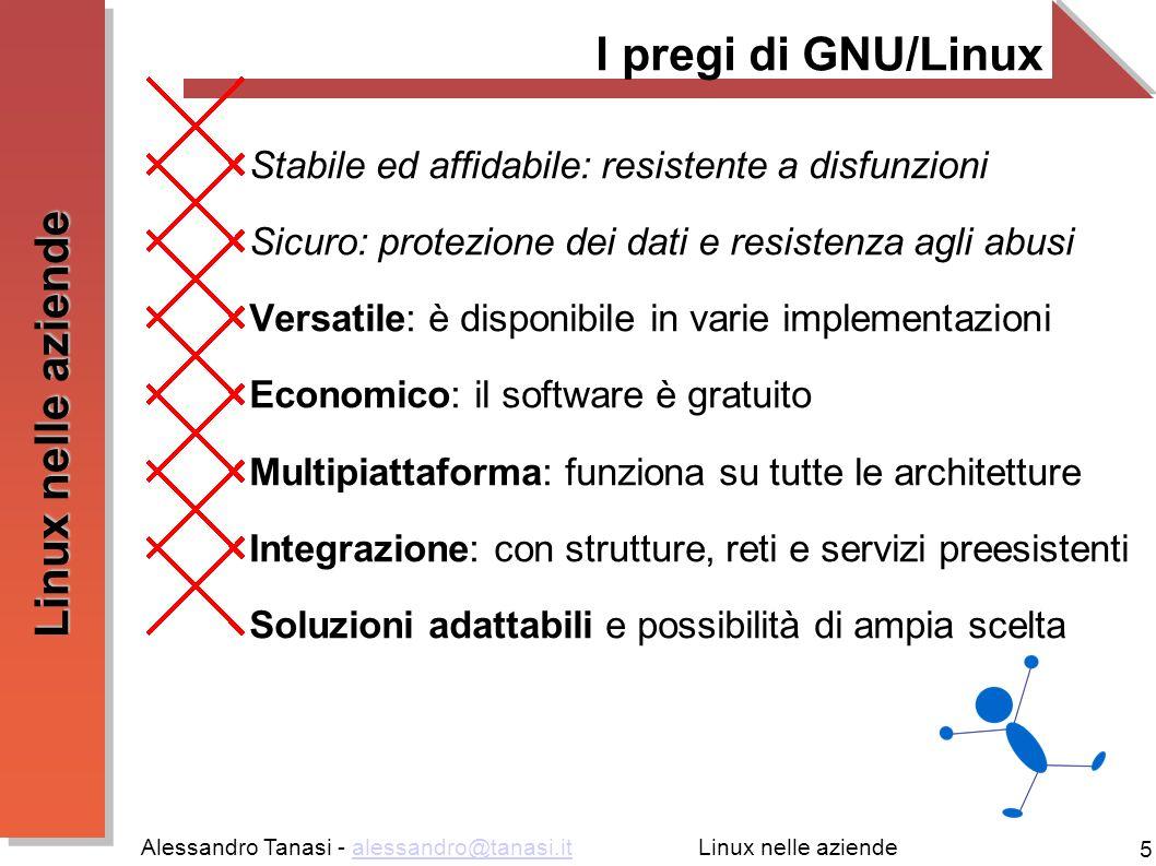 Alessandro Tanasi - alessandro@tanasi.italessandro@tanasi.it 6 Linux nelle aziende Utilizzo del personal computer Problematiche legate all utilizzo di GNU/Linux come ambiente Desktop: Utilizzo di internet e dei suoi servizi Elaborazione di dati Produzione di documenti Uso di periferiche