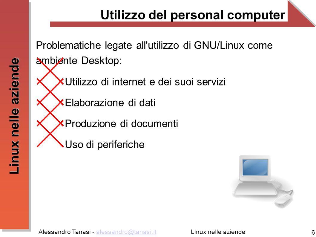 Alessandro Tanasi - alessandro@tanasi.italessandro@tanasi.it 17 Linux nelle aziende Gestione dei dati (DBMS) Sofware per la gestione di collezioni di dati (DBMS): Prestazioni di punta Grande affidabilità Scalabilità Software: MySQL [http://www.mysql.com]http://www.mysql.com PostgreSQL [http://www.postgresql.com]http://www.postgresql.com Firebird [http://www.firebirdsql.org]http://www.firebirdsql.org