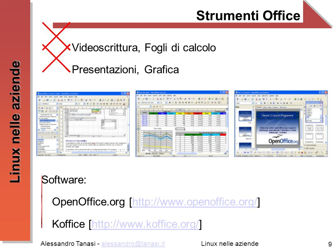 Alessandro Tanasi - alessandro@tanasi.italessandro@tanasi.it 10 Linux nelle aziende Multimedia Strumenti per il foto editing e grafica vettoriale Strumenti per il montaggio audio e video Strumenti CAD/CAM Software: GIMP [http://www.gimp.org/]http://www.gimp.org/ Ubuntustudio [http://ubuntustudio.org/]http://ubuntustudio.org/