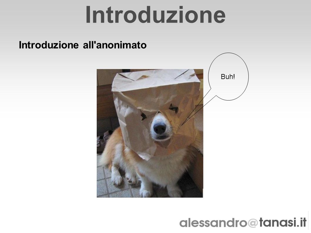 Introduzione Introduzione all'anonimato Buh!