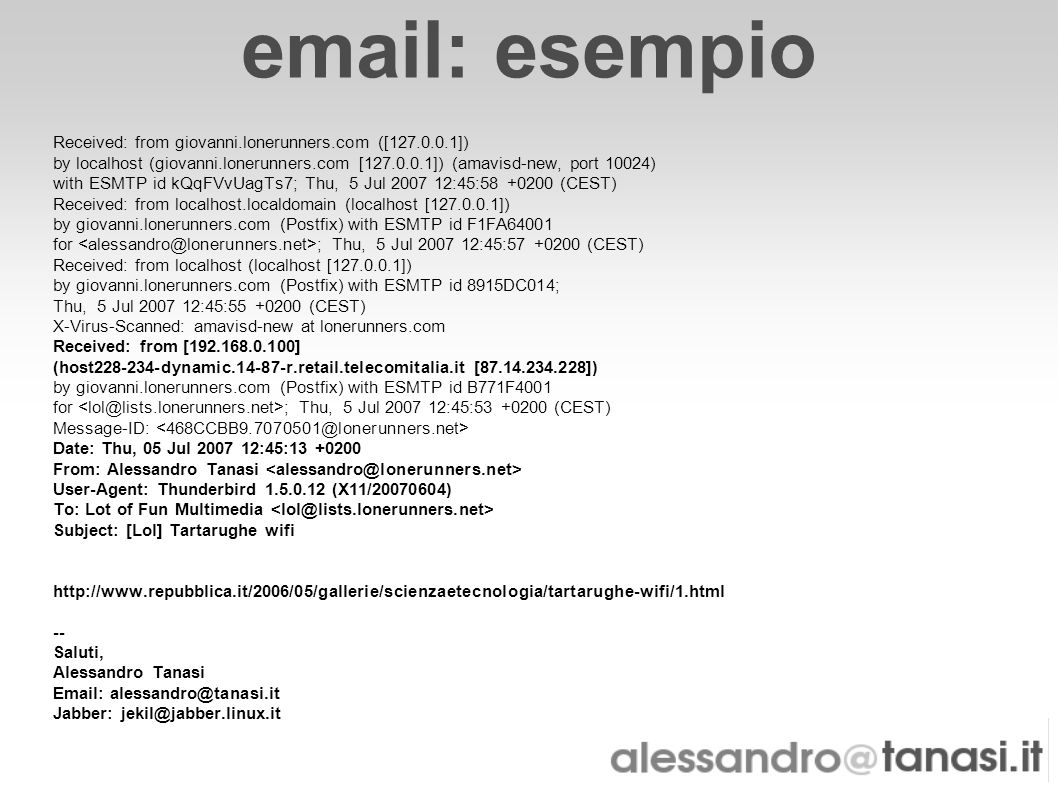 email: esempio Received: from giovanni.lonerunners.com ([127.0.0.1]) by localhost (giovanni.lonerunners.com [127.0.0.1]) (amavisd-new, port 10024) wit