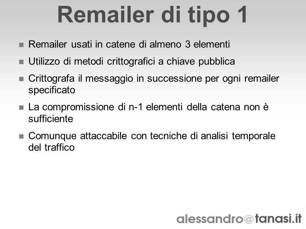 Remailer di tipo 1 Remailer usati in catene di almeno 3 elementi Utilizzo di metodi crittografici a chiave pubblica Crittografa il messaggio in succes