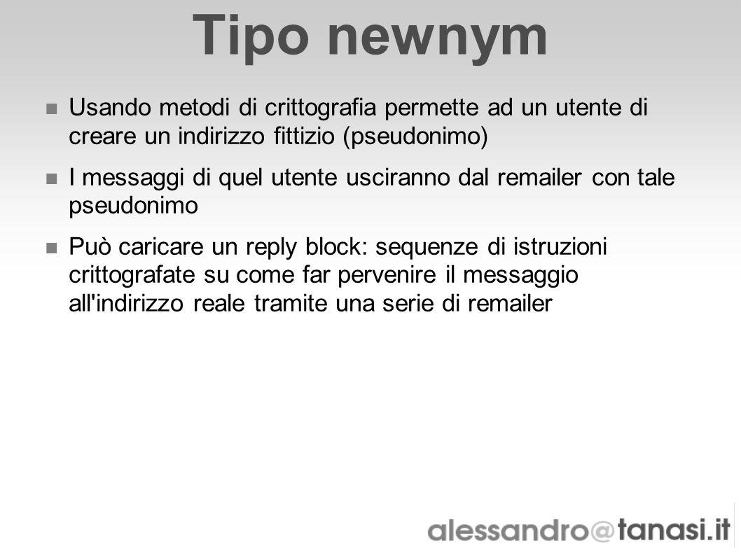 Tipo newnym Usando metodi di crittografia permette ad un utente di creare un indirizzo fittizio (pseudonimo) I messaggi di quel utente usciranno dal r