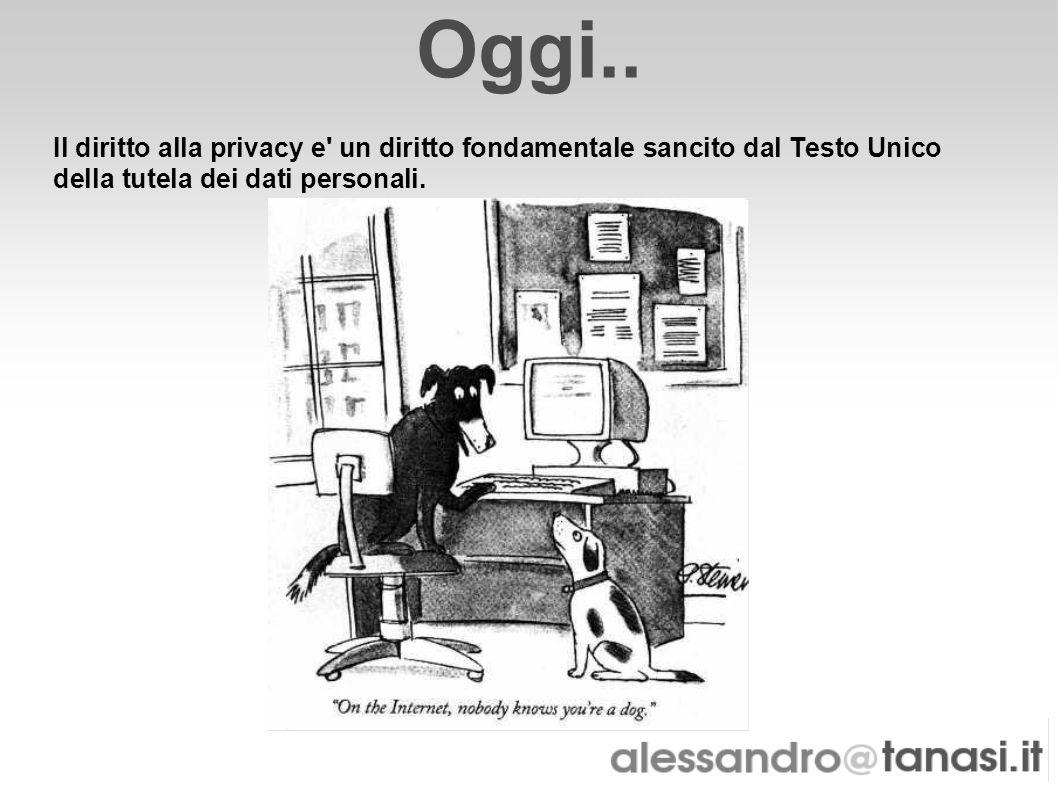 Oggi.. Il diritto alla privacy e' un diritto fondamentale sancito dal Testo Unico della tutela dei dati personali.