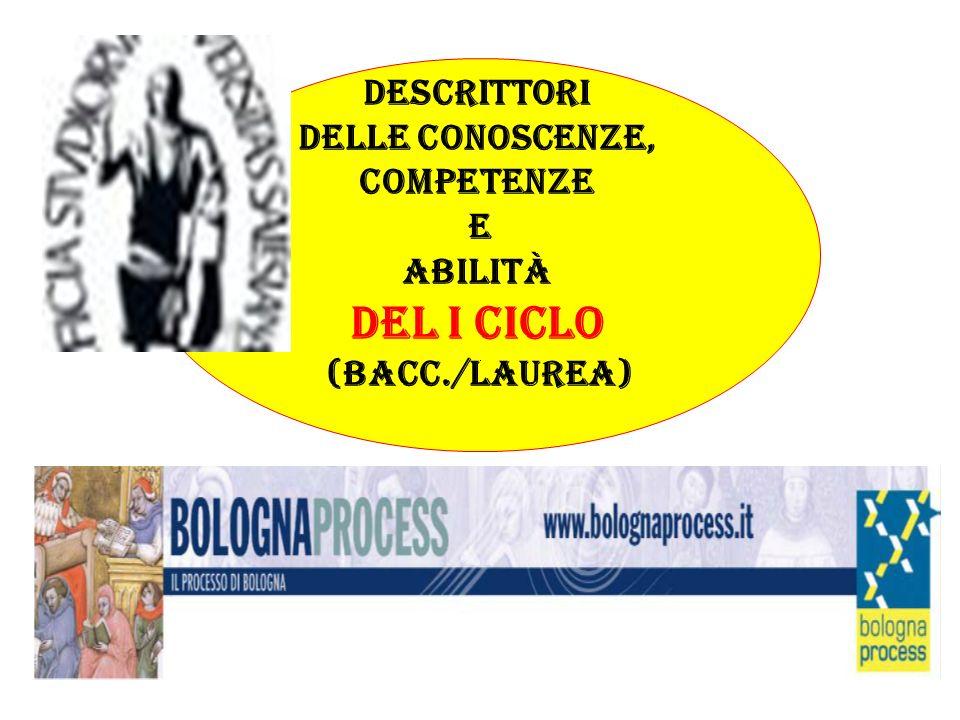Descrittori delle conoscenze, competenze e abilità del I ciclo (Bacc./laurea)