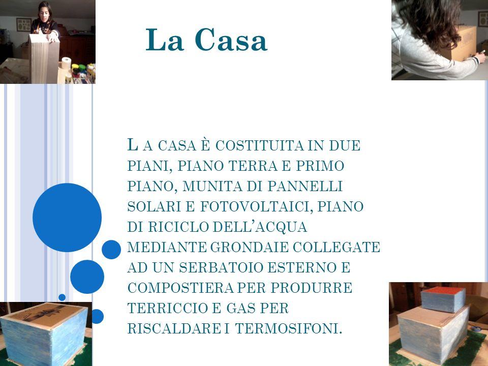 L A CASA È COSTITUITA IN DUE PIANI, PIANO TERRA E PRIMO PIANO, MUNITA DI PANNELLI SOLARI E FOTOVOLTAICI, PIANO DI RICICLO DELL ACQUA MEDIANTE GRONDAIE COLLEGATE AD UN SERBATOIO ESTERNO E COMPOSTIERA PER PRODURRE TERRICCIO E GAS PER RISCALDARE I TERMOSIFONI.