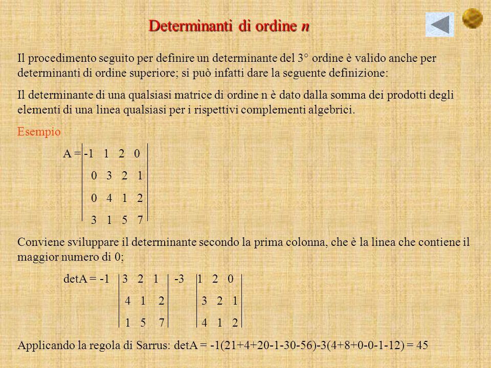 La regola di Sarrus è valida solo per le matrici quadrata di ordine 3°; a destra della matrice data si riscrivono, di seguito e nellordine, la prima e la seconda colonna; si calcola il prodotto degli elementi della diagonale principale della matrice e quello degli elementi delle due diagonali parallele; lo stesso si fa con la diagonale secondaria e le sue parallele ma prendendo, questa volta, i prodotti con il segno cambiato: la somma algebrica dei 6 prodotti ottenuti fornisce il determinante.