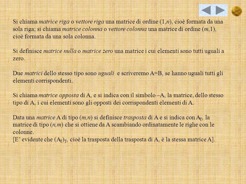 Detti m e n due numeri interi positivi e reali, si chiama matrice linsieme degli m·n numeri considerati, disposti su m righe orizzontali e su n colonne verticale, come nello schema che segue: A 11 A 12 …A 1n A 21 A 22 …A 2n A 31 A 32 …A 3n A 41 A 42 …A 4n A m1 A m2 …A mn I numeri reali racchiusi nella tabella si dicono elementi della matrice e sono rappresentati da una lettera munita di due indici: il primo indice fornisce la riga a cui appartiene lelemento e il secondo la colonna.