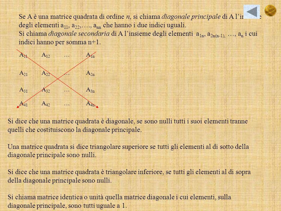 Se A è una matrice quadrata di ordine n, si chiama diagonale principale di A linsieme degli elementi a 11, a 22,…., a nn che hanno i due indici uguali.