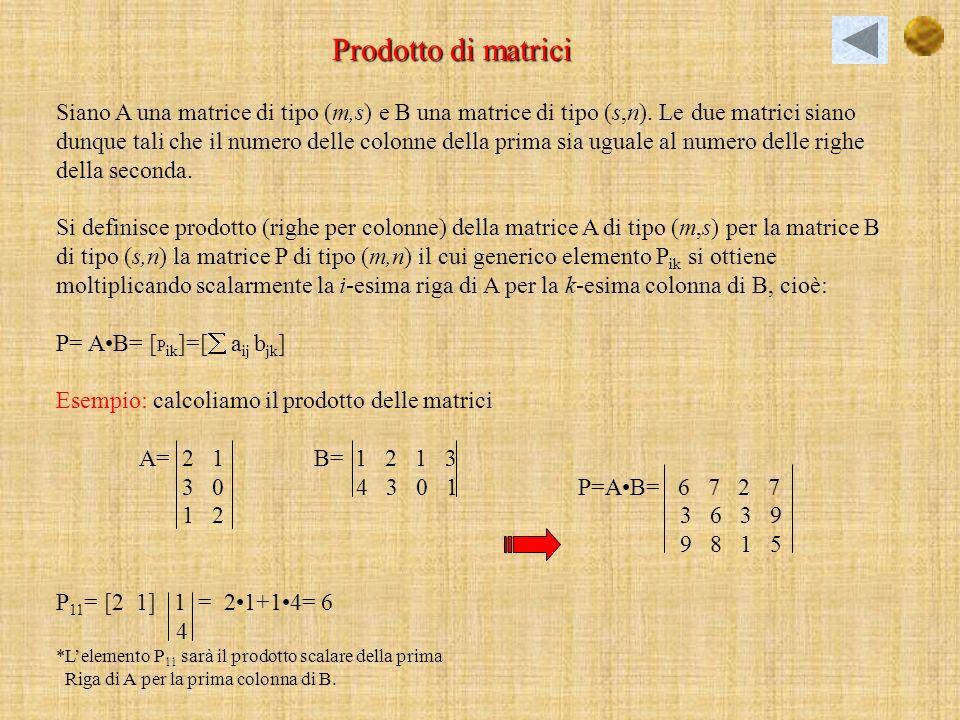 Prodotto scalare di una matrice riga per una matrice colonna Definiamo prodotto scalare di A per B la matrice P di tipo (1,1) che ha per elemento il numero che si ottiene sommando i prodotti del tipo a 1j e b j1 con j=1,2,…s, cioè: A= [a 11, a 12 …a 1s ] e B= b 11 b 21.