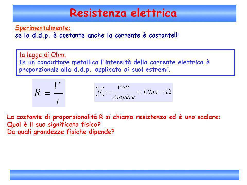 Resistenza elettrica La costante di proporzionalità R si chiama resistenza ed è uno scalare: Qual è il suo significato fisico? Da quali grandezze fisi