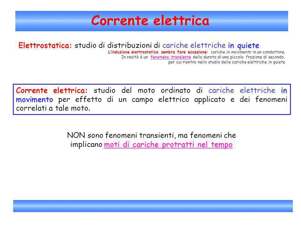 Corrente elettrica Corrente elettrica: moto ordinato di cariche elettriche Esempio: moto degli elettroni liberi allinterno di un metallo quando allinterno di un metallo vi è applicato un campo elettrico esterno - + - + Altri esempi di corrente elettrica: tra due punti di un elettrolita mantenuti a potenziali elettrici diversi.