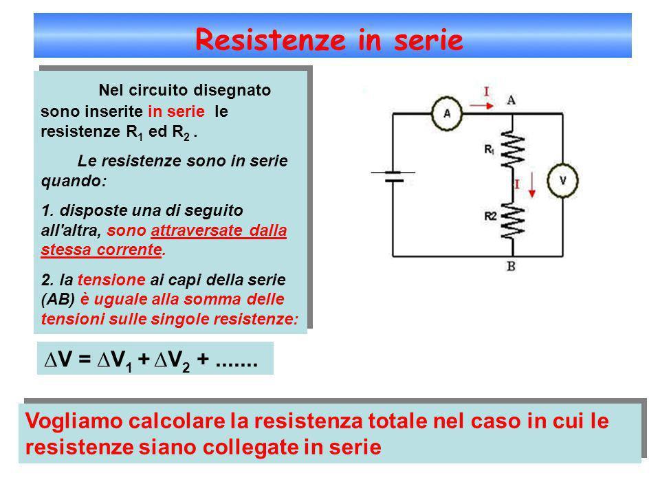 Resistenze in serie Nel circuito disegnato sono inserite in serie le resistenze R 1 ed R 2. Le resistenze sono in serie quando: 1. disposte una di seg