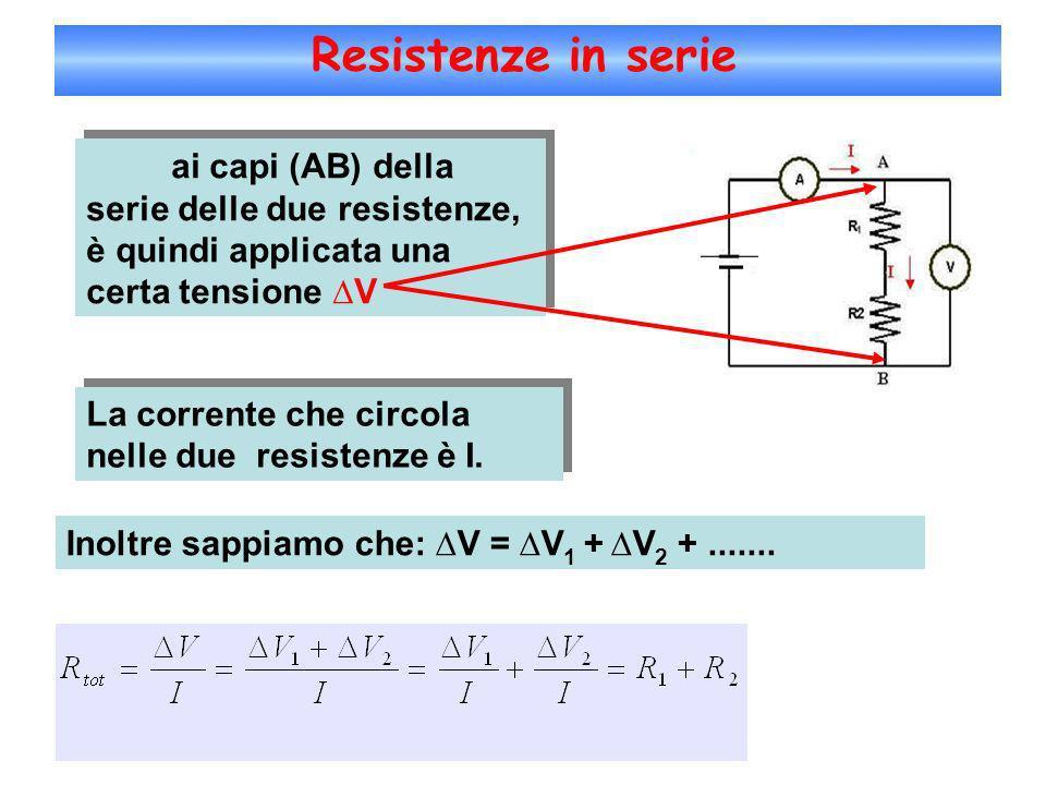 Resistenze in serie ai capi (AB) della serie delle due resistenze, è quindi applicata una certa tensione V La corrente che circola nelle due resistenz