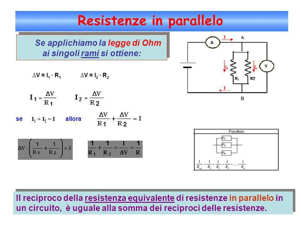 Resistenze in parallelo Se applichiamo la legge di Ohm ai singoli rami si ottiene: V = I 1 · R 1 V = I 2 · R 2 se I 1 + I 2 = I allora Il reciproco de