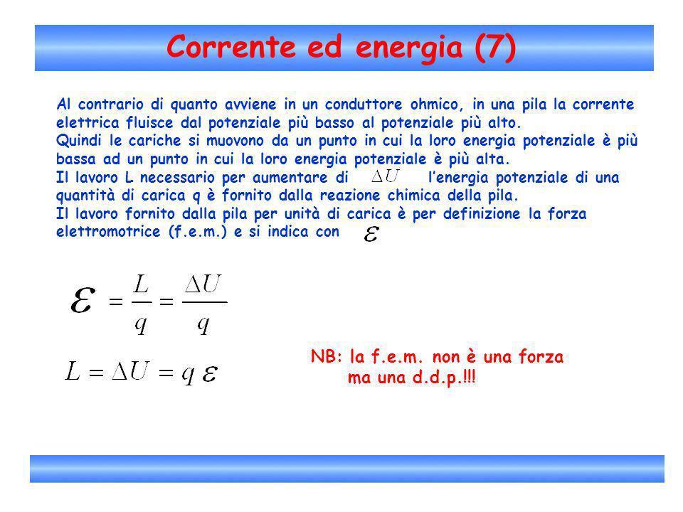 Corrente ed energia (7) Al contrario di quanto avviene in un conduttore ohmico, in una pila la corrente elettrica fluisce dal potenziale più basso al