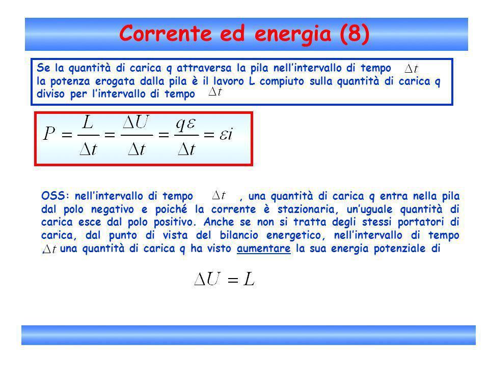 Corrente ed energia (8) Se la quantità di carica q attraversa la pila nellintervallo di tempo la potenza erogata dalla pila è il lavoro L compiuto sul