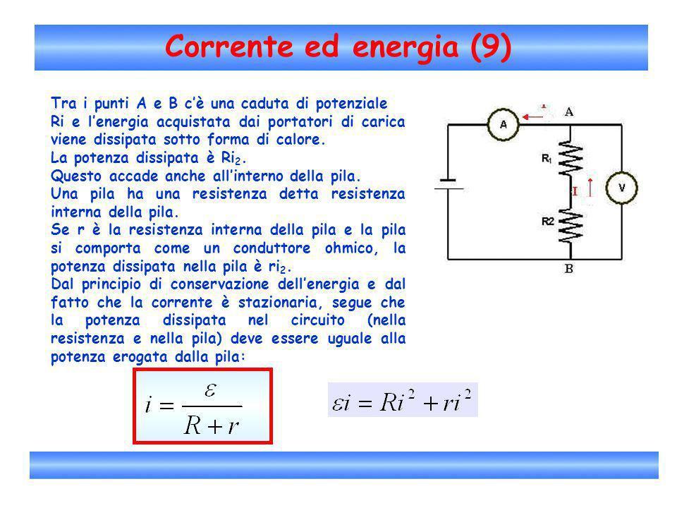 Corrente ed energia (9) Tra i punti A e B cè una caduta di potenziale Ri e lenergia acquistata dai portatori di carica viene dissipata sotto forma di