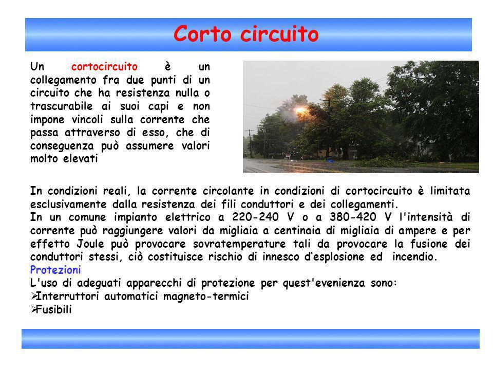 Corto circuito Un cortocircuito è un collegamento fra due punti di un circuito che ha resistenza nulla o trascurabile ai suoi capi e non impone vincol