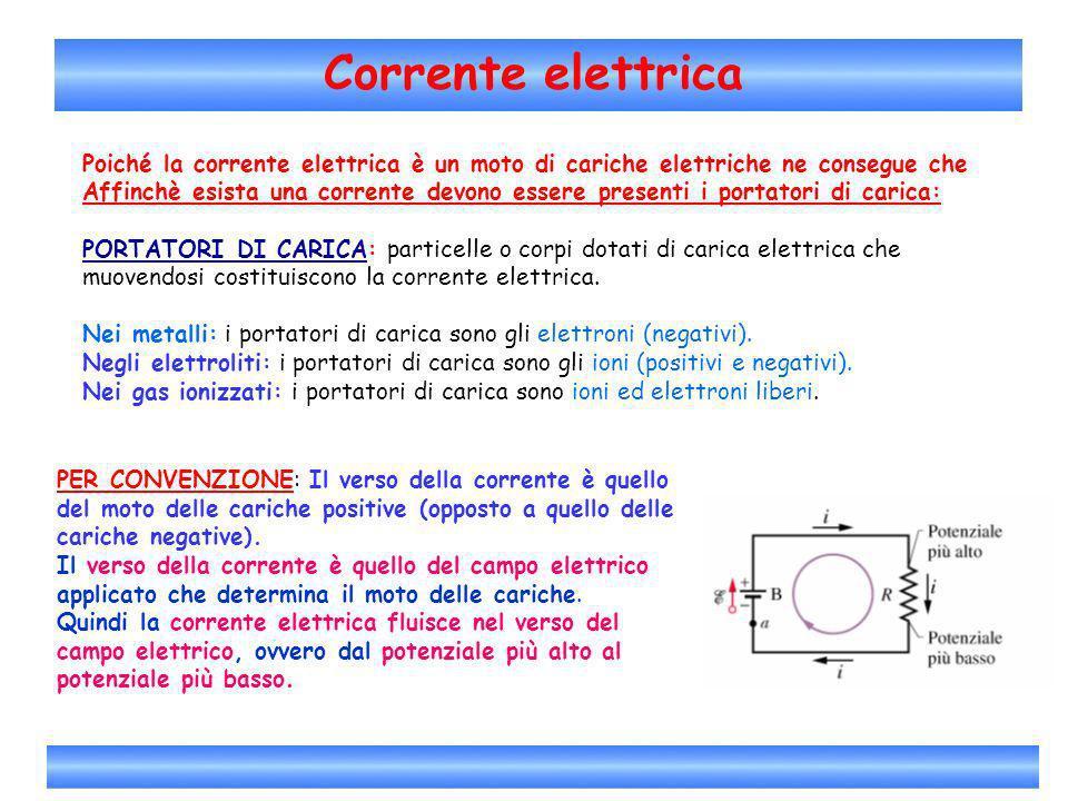 Corrente elettrica Poiché la corrente elettrica è un moto di cariche elettriche ne consegue che Affinchè esista una corrente devono essere presenti i