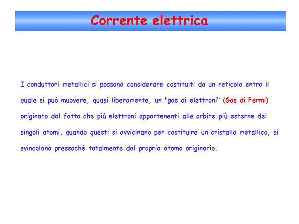 Corrente elettrica Il moto degli elettroni è ostacolato dagli urti che essi effettuano con gli ioni del reticolo, i quali, a loro volta, oscillano intorno alle posizioni di equilibrio con ampiezza tanto maggiore quanto più grande è la temperatura del conduttore.