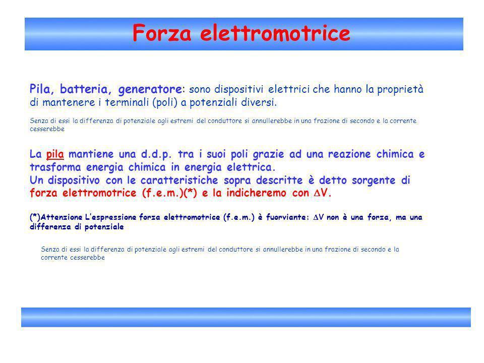 Forza elettromotrice Pila, batteria, generatore: sono dispositivi elettrici che hanno la proprietà di mantenere i terminali (poli) a potenziali divers
