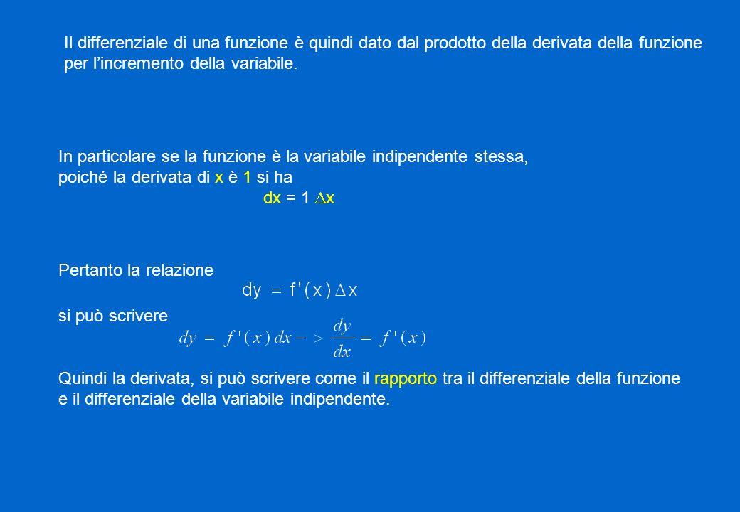 Il differenziale di una funzione è quindi dato dal prodotto della derivata della funzione per lincremento della variabile. In particolare se la funzio