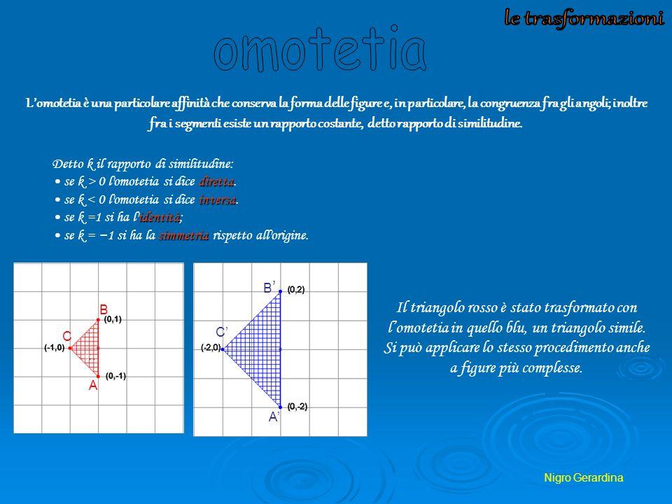 Nigro Gerardina Lomotetia è una particolare affinità che conserva la forma delle figure e, in particolare, la congruenza fra gli angoli; inoltre fra i