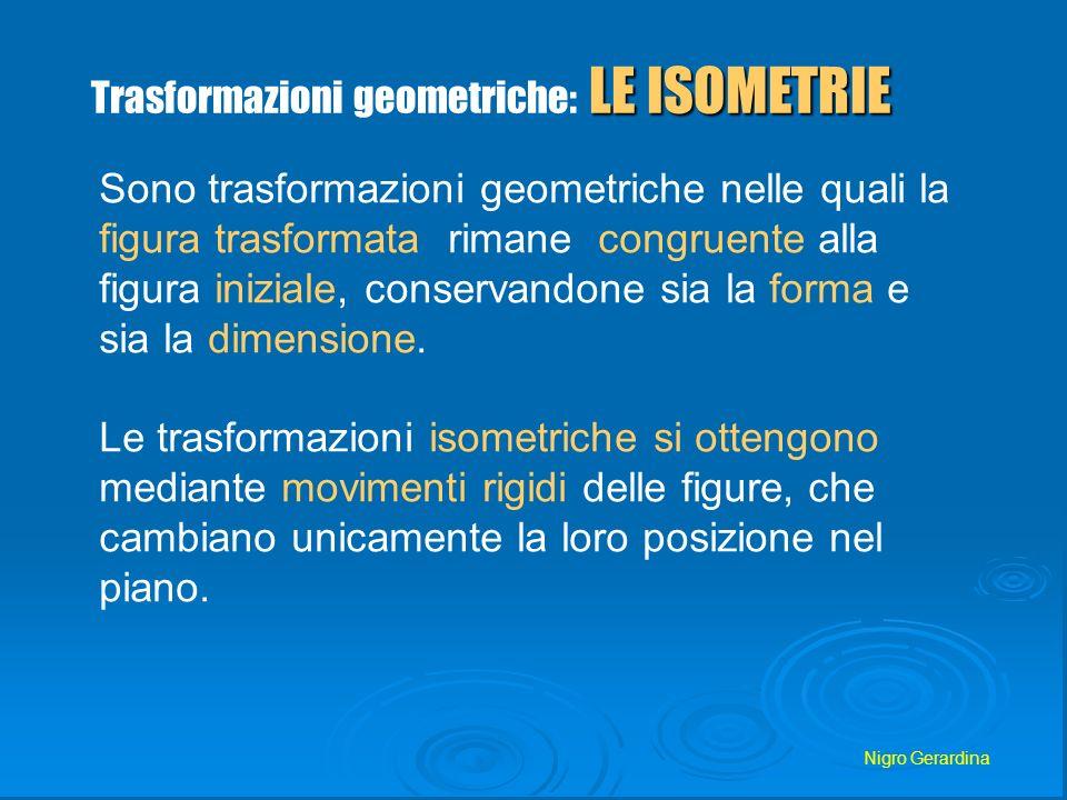 Nigro Gerardina ISOMETRIE Una trasformazione geometrica si chiama isometria o congruenza quando, comunque si scelgano due punti A e B del piano, se A e B sono i loro corrispondenti, il segmento AB risulta congruente al segmento AB