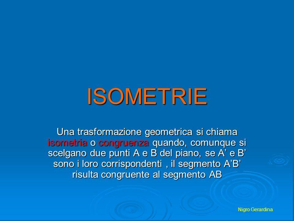 Nigro Gerardina ISOMETRIE Una trasformazione geometrica si chiama isometria o congruenza quando, comunque si scelgano due punti A e B del piano, se A
