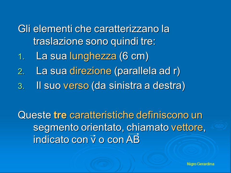 Nigro Gerardina Gli elementi che caratterizzano la traslazione sono quindi tre: 1. La sua lunghezza (6 cm) 2. La sua direzione (parallela ad r) 3. Il