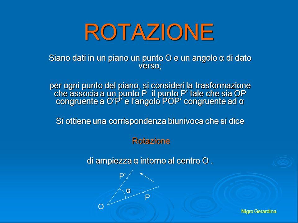 Nigro Gerardina Teorema: la rotazione è unisometria La rotazione quindi ha le proprietà delle isometrie ed in particolare trasforma una figura in unaltra ad essa congruente.