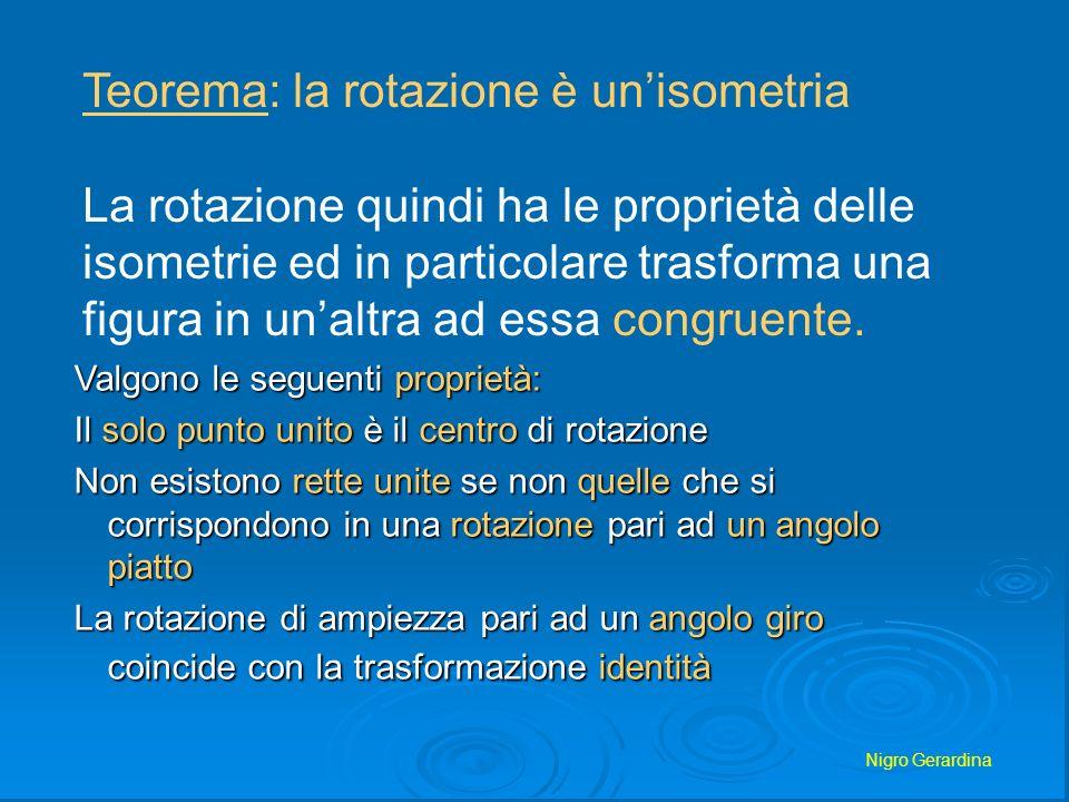 Nigro Gerardina La rotazione ha come caratteristiche invarianti: Lallineamento dei punti La lunghezza dei segmenti Il parallelismo Lampiezza degli angoli Il rapporto tra segmenti Lorientamento dei punti del piano