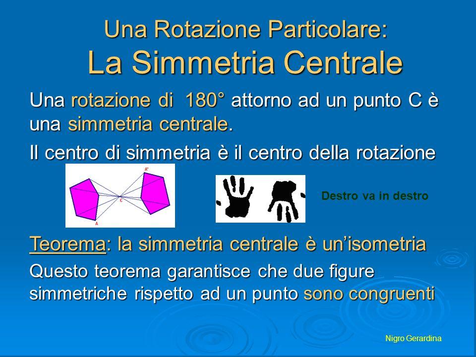 Nigro Gerardina SIMMETRIA CENTRALE Si dice simmetria centrale la trasformazione che fa corrispondere a un punto del piano il suo simmetrico rispetto a un dato punto 0, detto centro della simmetria P P.