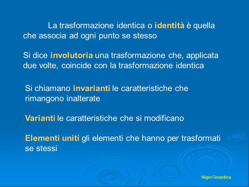 La trasformazione identica o identità è quella che associa ad ogni punto se stesso Si dice involutoria una trasformazione che, applicata due volte, co
