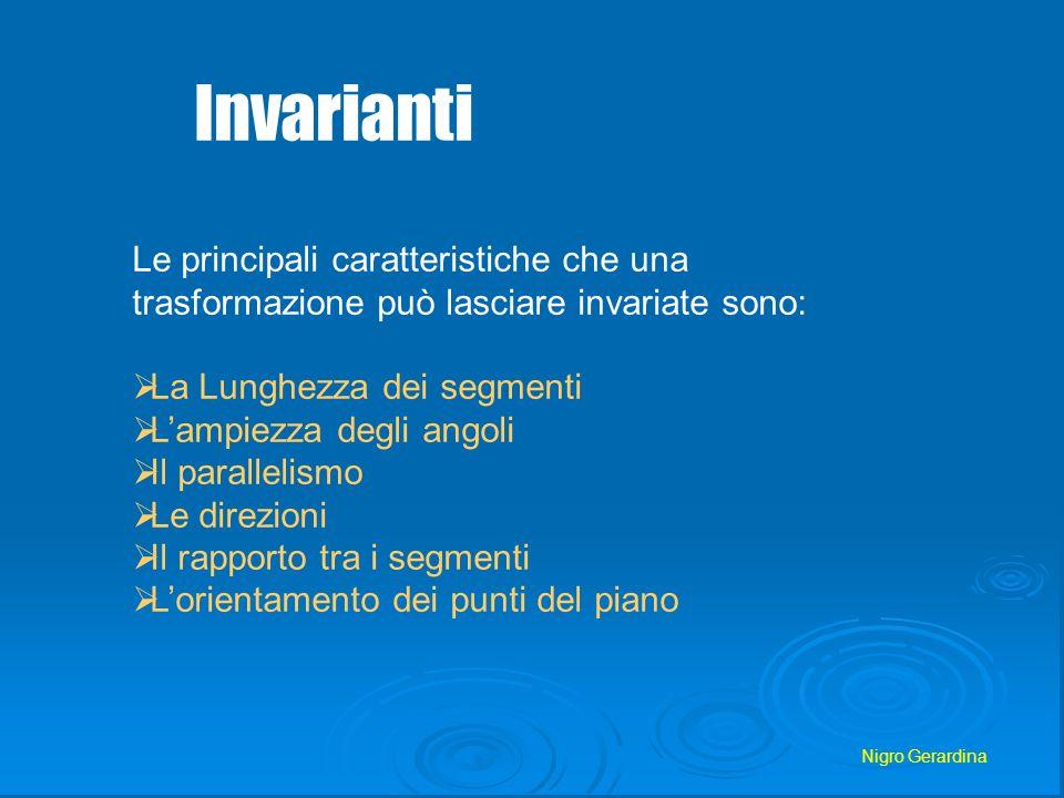Nigro Gerardina Invarianti Le principali caratteristiche che una trasformazione può lasciare invariate sono: La Lunghezza dei segmenti Lampiezza degli